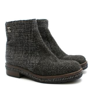 Chanel Grey Tweed Ankle Boots