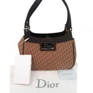 Christian Dior brown and beige canvas and leather monogram bag