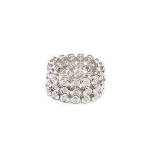 Bespoke 18ct White Gold expandable 3 row Diamond ring 3.29cts