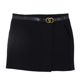 Gucci Black Belted Mini Skirt