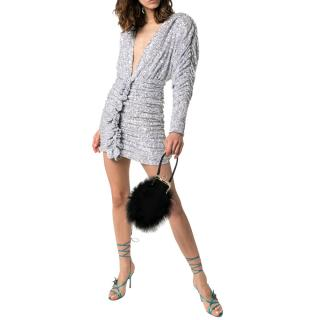 Attico silver sequin embellished rushed mini dress