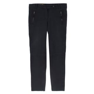 Loro Piana slim fit dark grey stretch cotton trousers