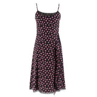 Prada Black Flower Silk Dress