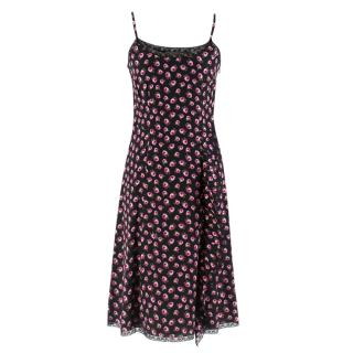 Prada Black Flower Silk Dress