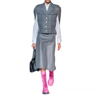 Prada Virgin Wool Single Breasted Wool Cape - New Season