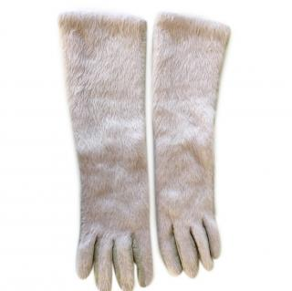 Dondup furry fabric long gloves with leather palms
