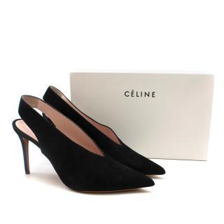 Celine black suede slingback sandals