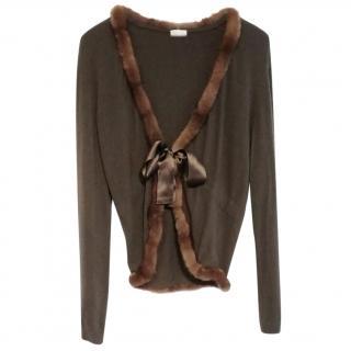 Valentino brown cashmere and mink trim cardigan