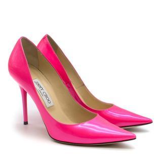 Jimmy Choo Neon Pink Love 100 Patent Pumps