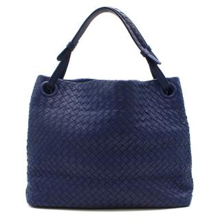 Bottega Veneta Blue Intrecciato Leather Tote Bag