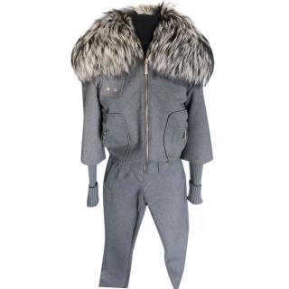 Christian Dior Grey Wool jacket and trousers fur collar Ski Suit