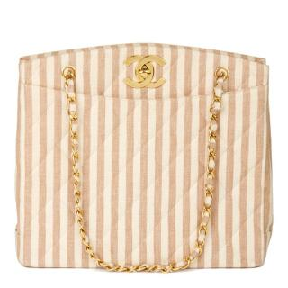 Chanel striped linen vintage timeless shoulder tote bag