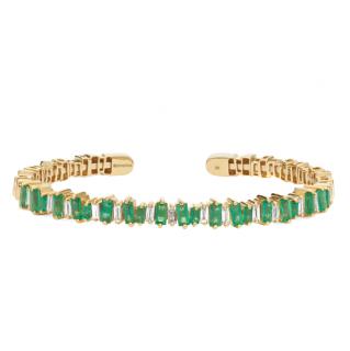 Suzanne Kalan 18-karat gold, emerald and diamond cuff