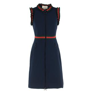 Gucci sleeveless web stripe ruffled dress