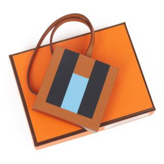 Hermes Gold, Celeste & Bleu Leather H Letter Bag Charm