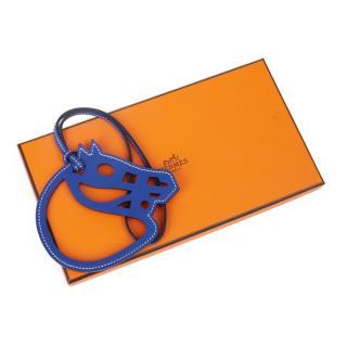 Hermes Blue Swift Leather Paddock Cheval Bag Charm