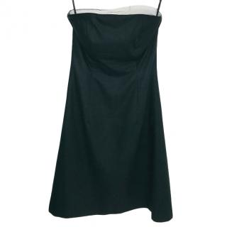 Burberry Black Strapless A-Line Dress W/ Tulle Trim