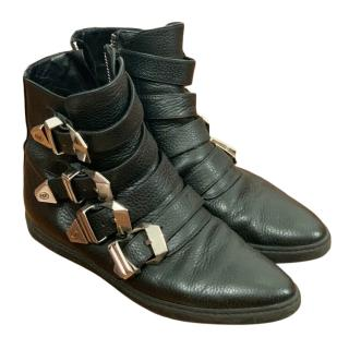 Phillip Plein Leather Buckled Boots