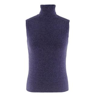 Prada Sleeveless Purple Knit Rollneck Top