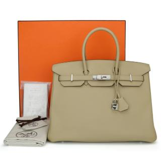Hermes Togo leather 35m Trench Birkin Bag