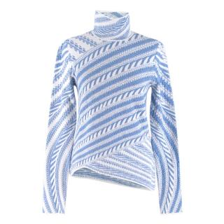 Peter Pilotto Jacquard Knit Blue & White Roll Neck Jumper