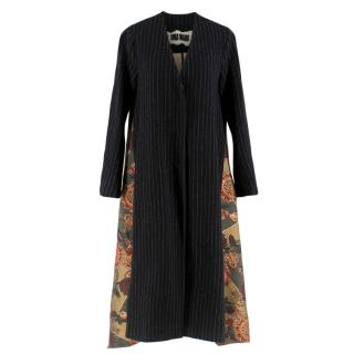 Uma Wang Pinstripe Oversize Coat W/ Tapestry Embroidered Back