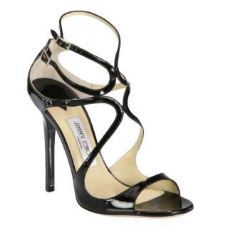 Jimmy Choo Black Patent Leather Lance Sandals