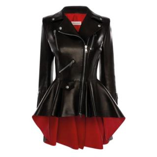 Alexander McQueen Black/Lust Red Leather Biker Jacket - Current