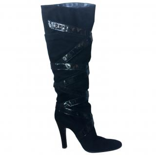Giuseppe Zanotti Suede & Patent Leather Heeled Long Boots