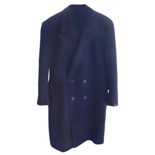 Crombie Navy Blue Men's Wool Overcoat