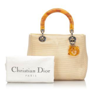 Dior Canvas & PVC Lady Dior Tote Bag