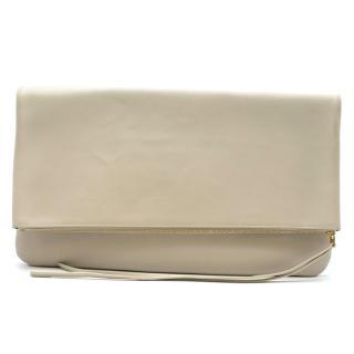 Celine Cream & Orange Leather Foldover Clutch