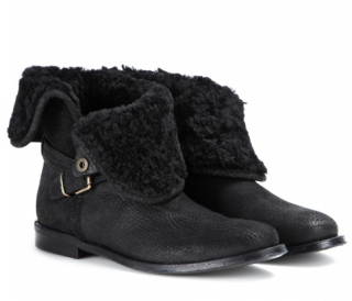 Burberry Garton Black Shearling Suede Ankle Boot