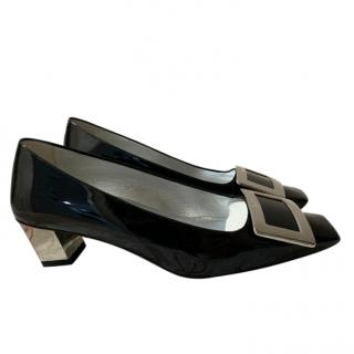 Roger Vivier Signature black patent buckle pumps