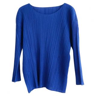 Issey Miyake Pleats Please royal blue long sleeved top