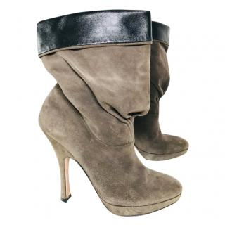 Prada beige and leather ankle boots