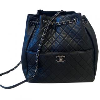 Chanel large black quilted backpack with silver hardware