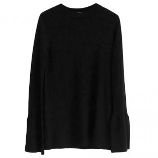 Allude Stretch Knit Black Bell Sleeve Top