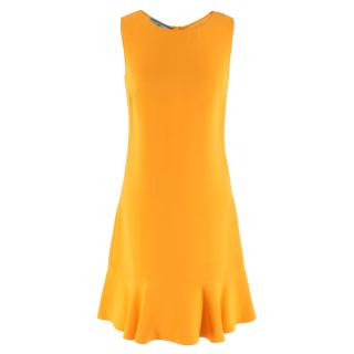 Prada Amber Yellow Ruffled Sleeveless Shift Dress