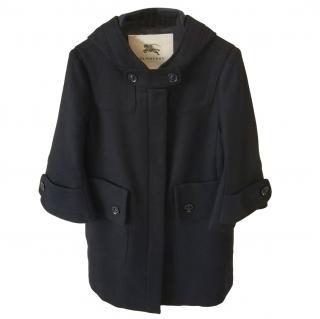 Burberry Black Wool Hooded Coat flare sleeve sz small