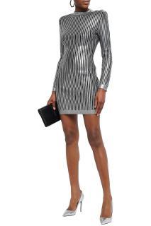 Balmain metallic ribbed-knit mini dress