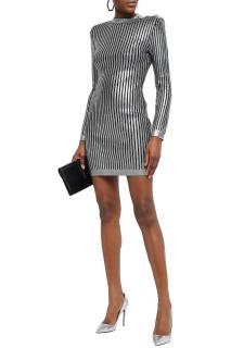 Balmain metallic ribbed-knit mini dress