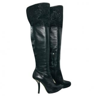 Dior Leather & Lasercut Suede OTK Boots