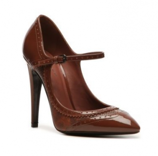 Bottega Veneta Brown Patent Leather Brogue Style Mary-Janes