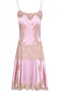 Dolce & Gabbana Blush Pink Silk & Lace Runway Slip Dress