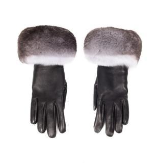 FurbySD Black Leather & Chinchilla Fur Gloves