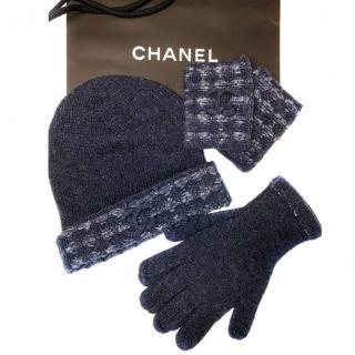 Chanel Blue Tweed Hat, Gloves & Cuff