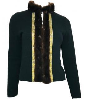 Etro Angora & Wool Blend Cardigan With Mink Fur Trim