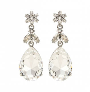 Oscar de la Renta Crystal Tear Drop Earrings