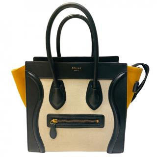 Celine Tri-Colour Canvas & Leather Luggage Tote